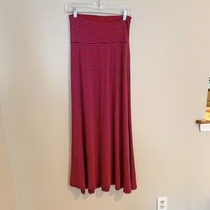 Red and navy stripe maxi skirt